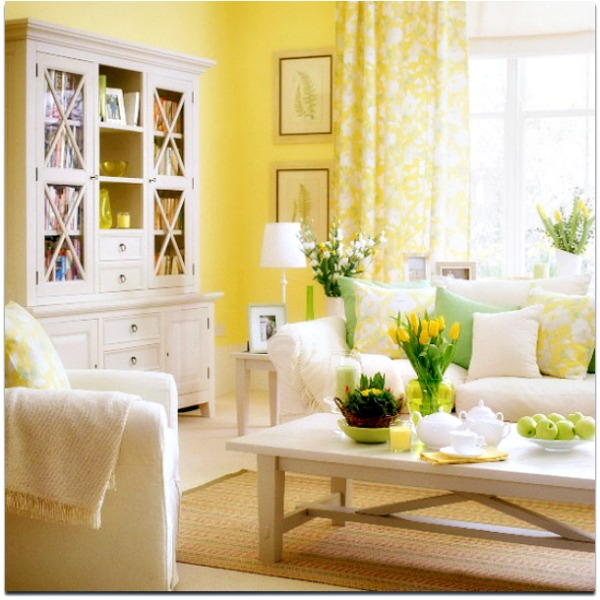 Spring 2012 interior decor trends for Yellow green living room ideas